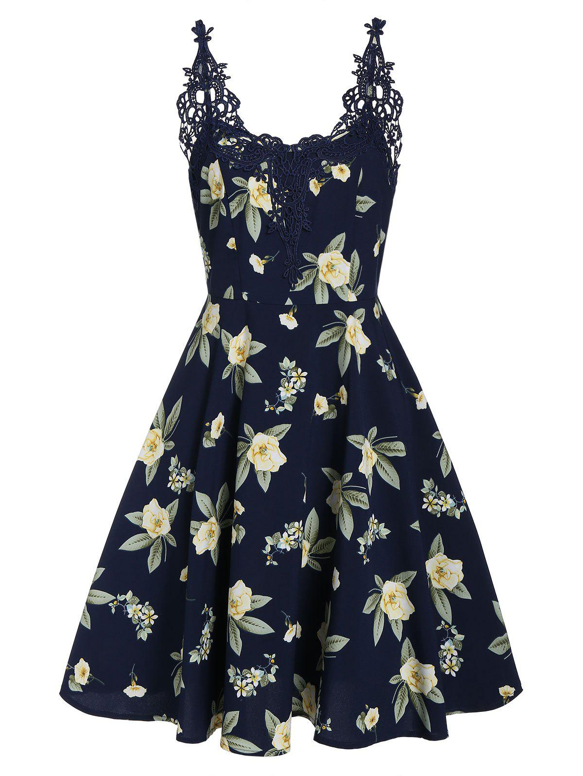 Discount Floral Print Lace Panel Fit And Flare Dress