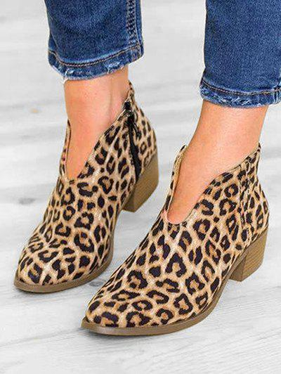 Cheap Leopard Print V Cut Ankle Boots