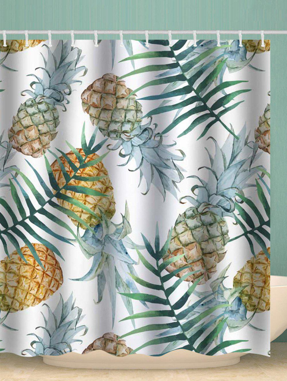 Cheap Pineapple Printed Waterproof Shower Curtain