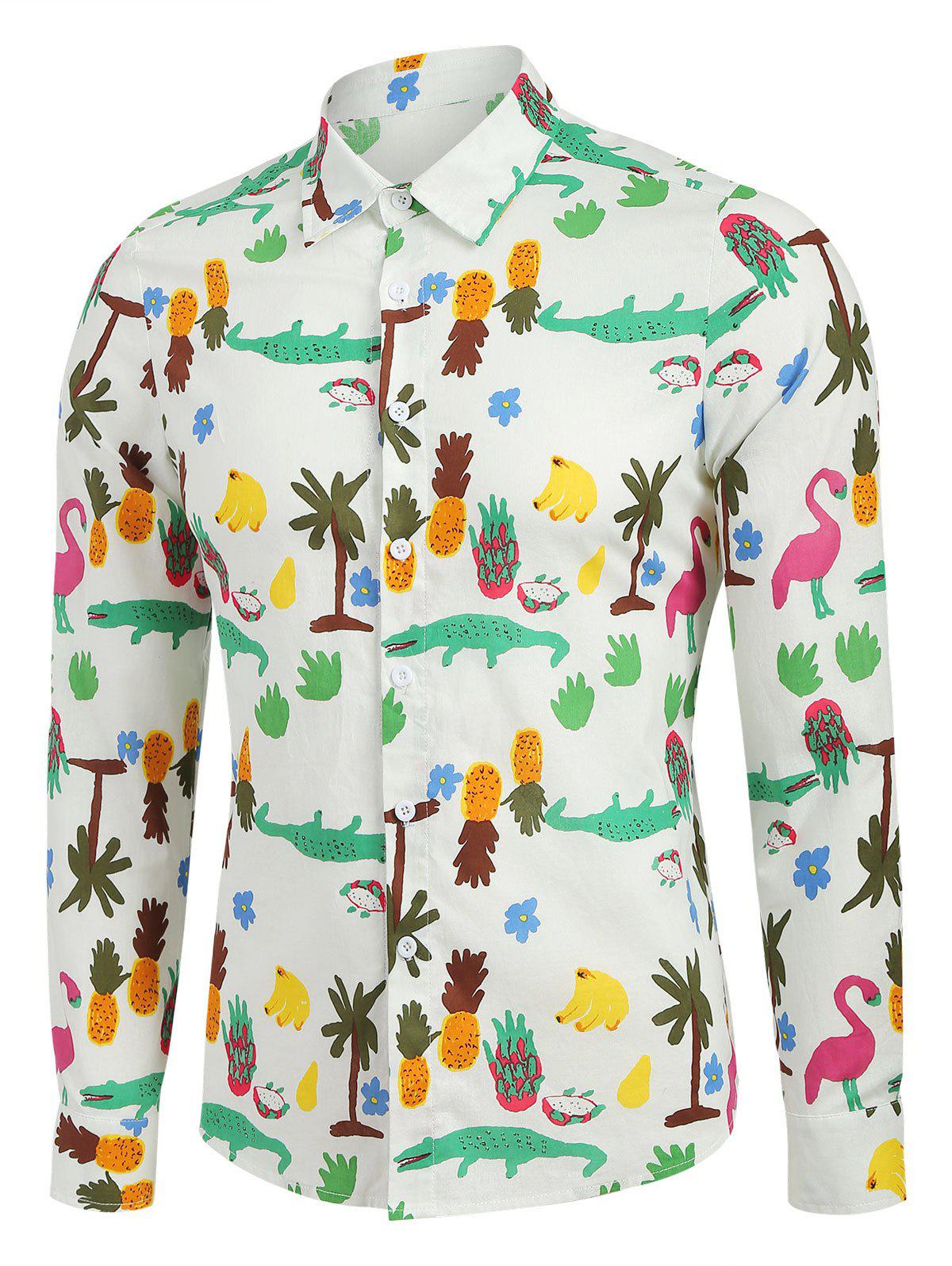 Shop Cartoon Tropical Print Long Sleeve Button Up Shirt