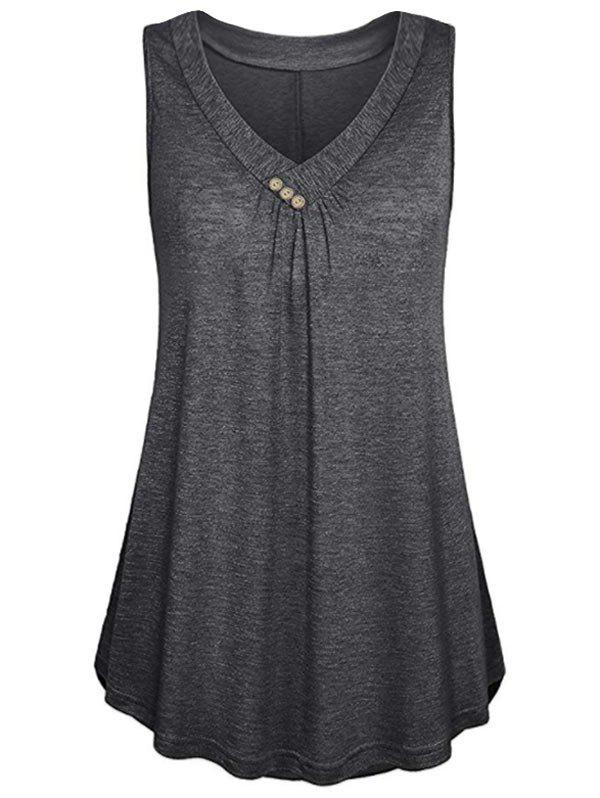 Chic Button Embellished Longline Tank Top
