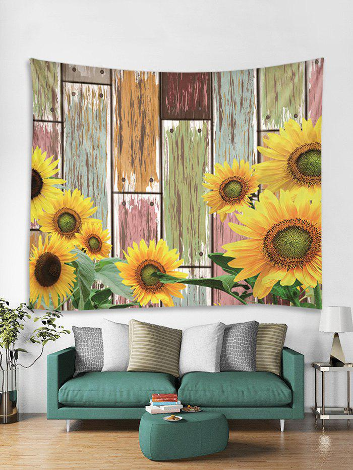 Fashion Sunflower Wood Grain 3D Print Wall Tapestry
