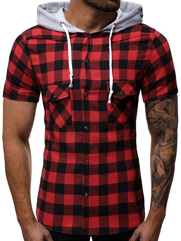 Outfit Plaid Print Casual Hooded T-shirt