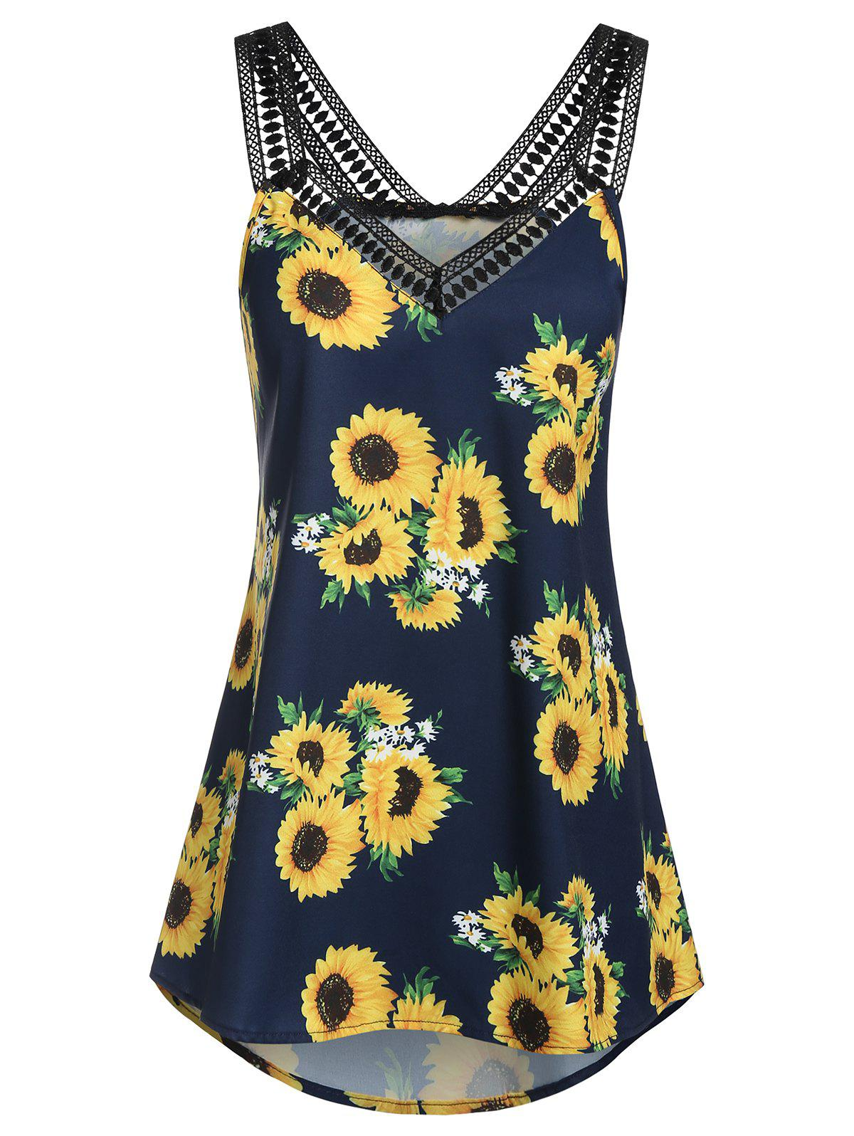 Outfit Sweetheart Collar Sunflower Print Tank Top