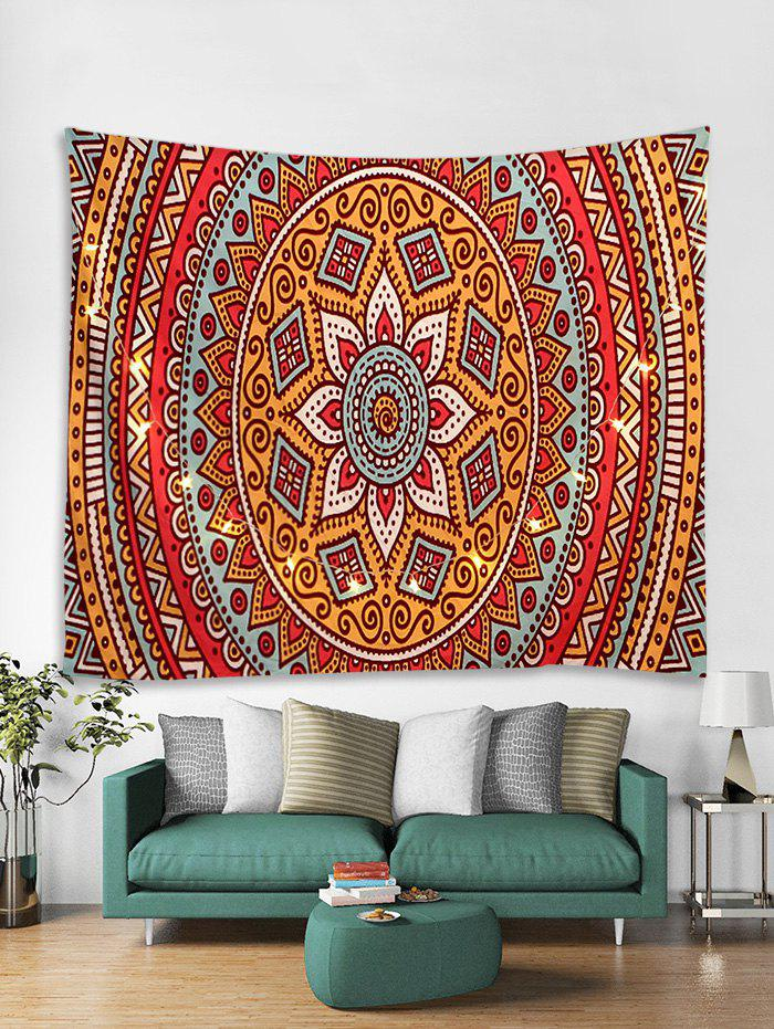 Chic Bohemian Pattern Tapestry Wall Hanging with LED String Lights