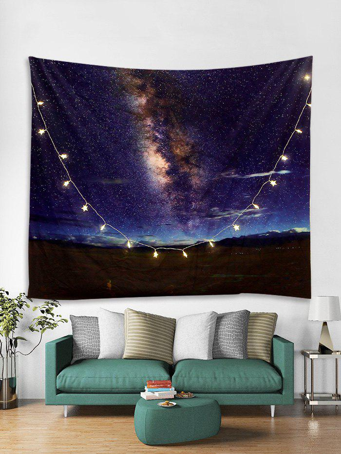 Store Milky Way Print Tapestry Wall Hanging with LED String Lights