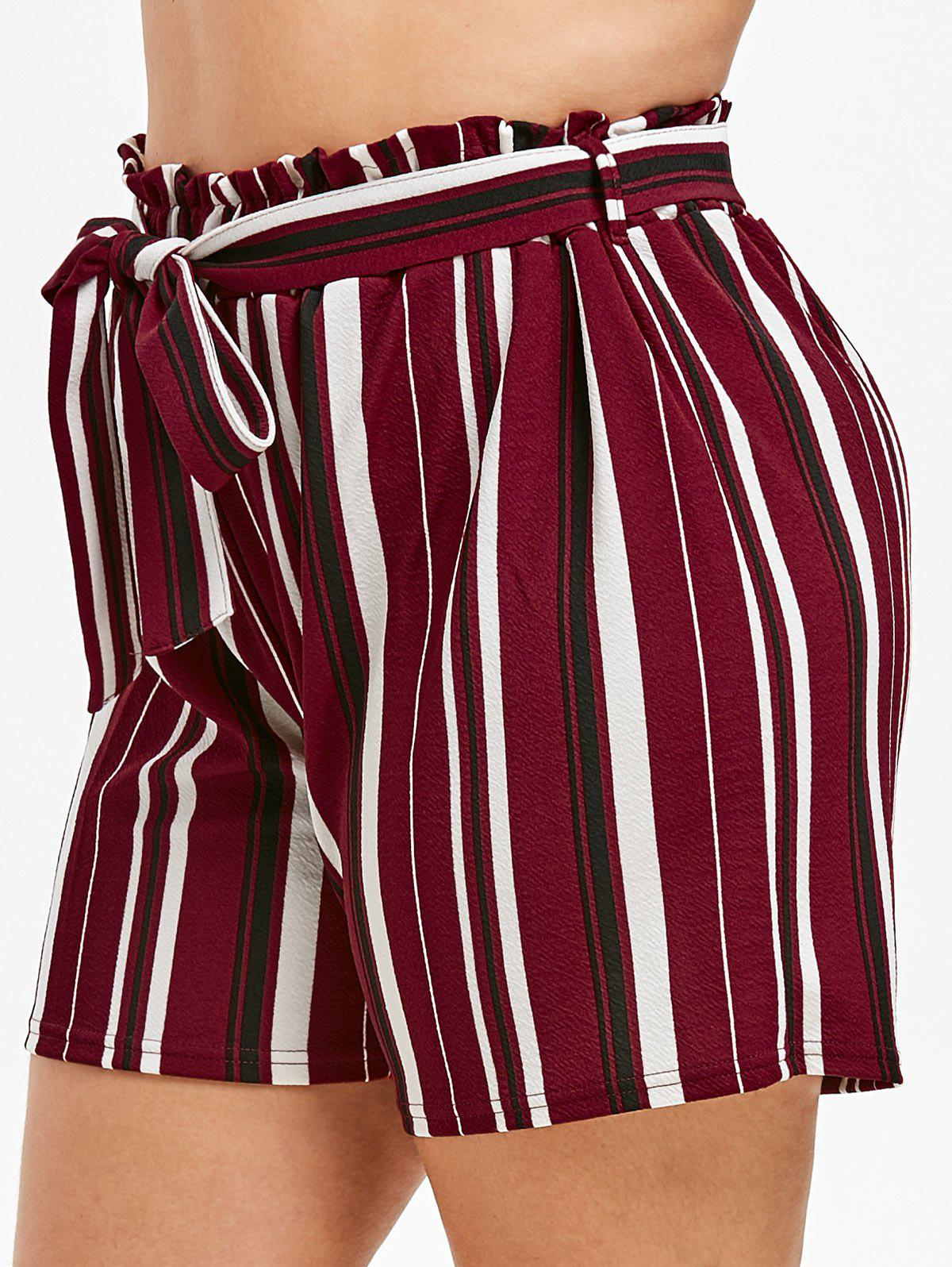 Buy Plus Size Striped Paperbag Shorts