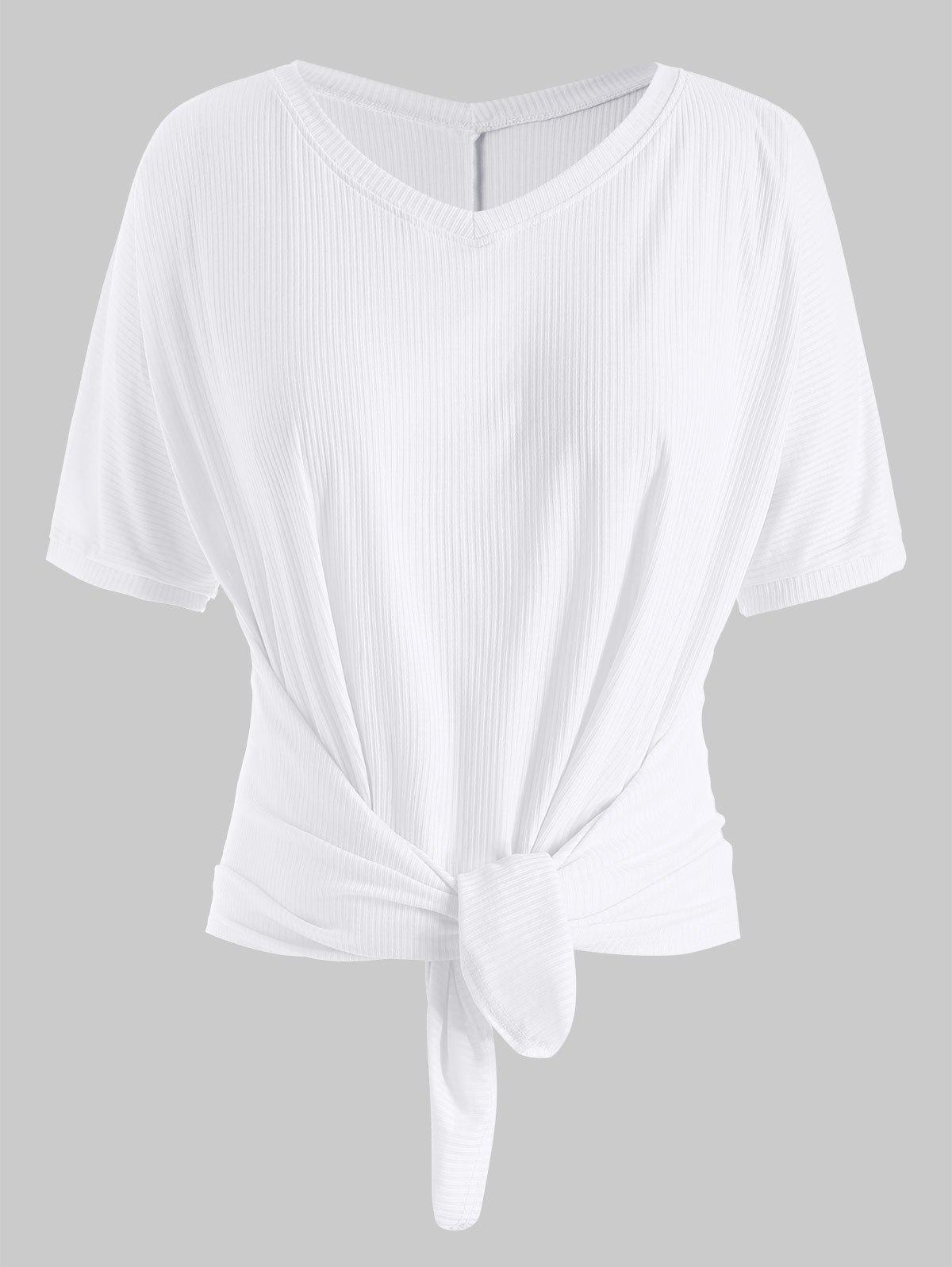 Hot Plus Size Batwing Sleeve Front Tie Ribbed T-shirt