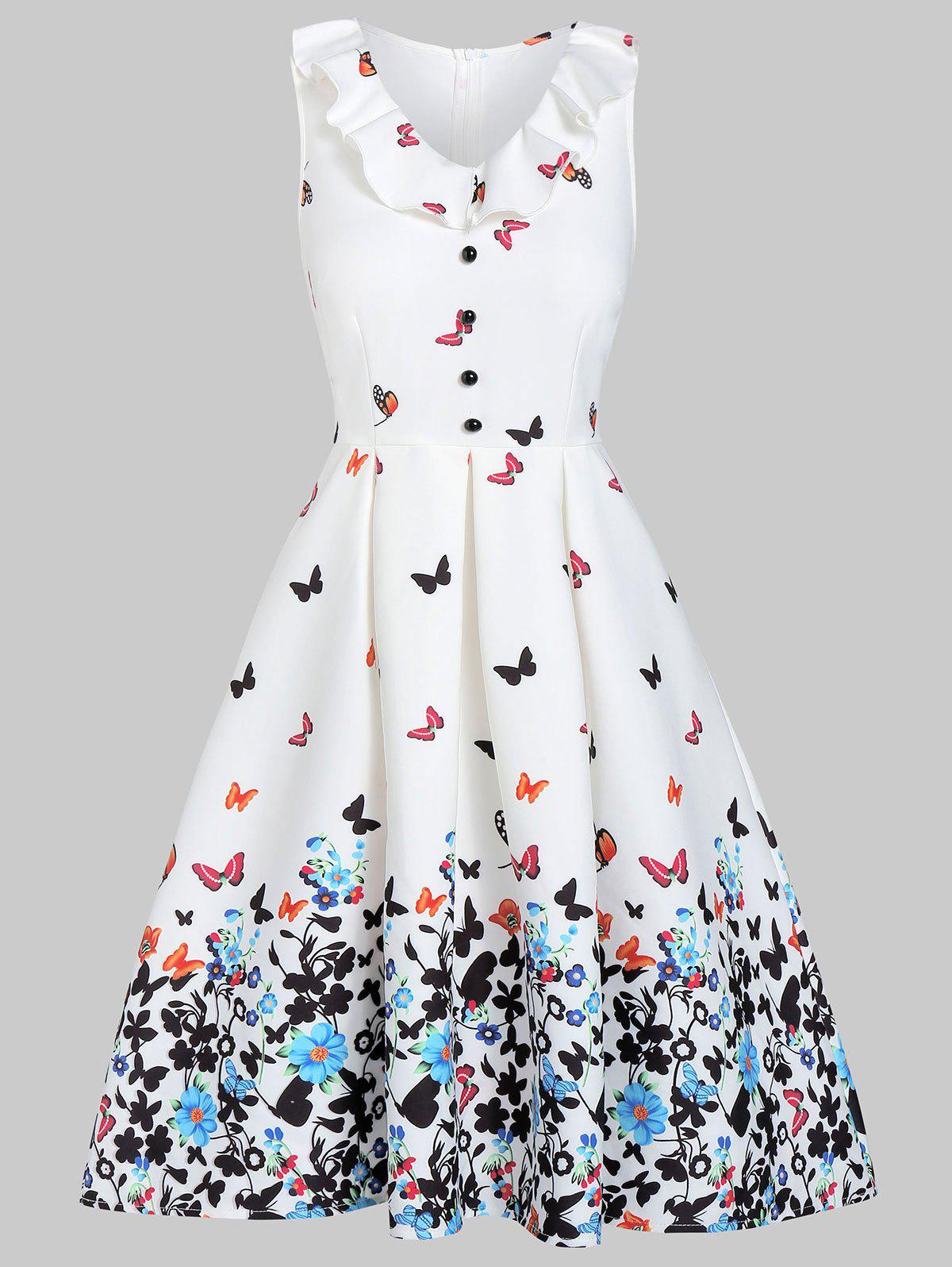 Fit And Flare Zippered Butterfly Print Dress