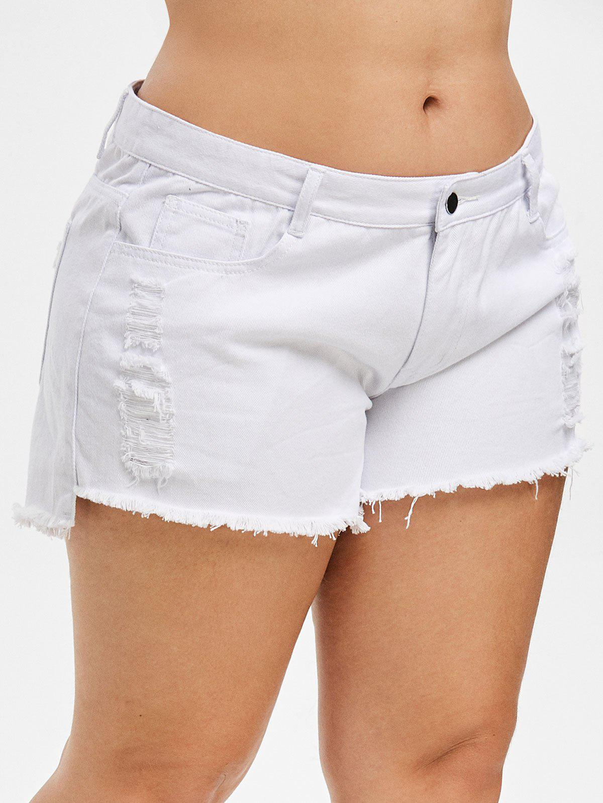 New Ripped Plus Size Denim Shorts