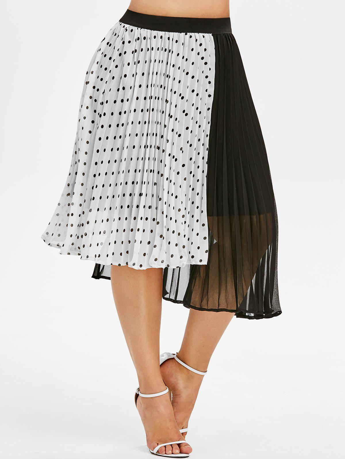 ac216174a5 38% OFF] Plus Size Polka Dot Color Block Midi Skirt | Rosegal