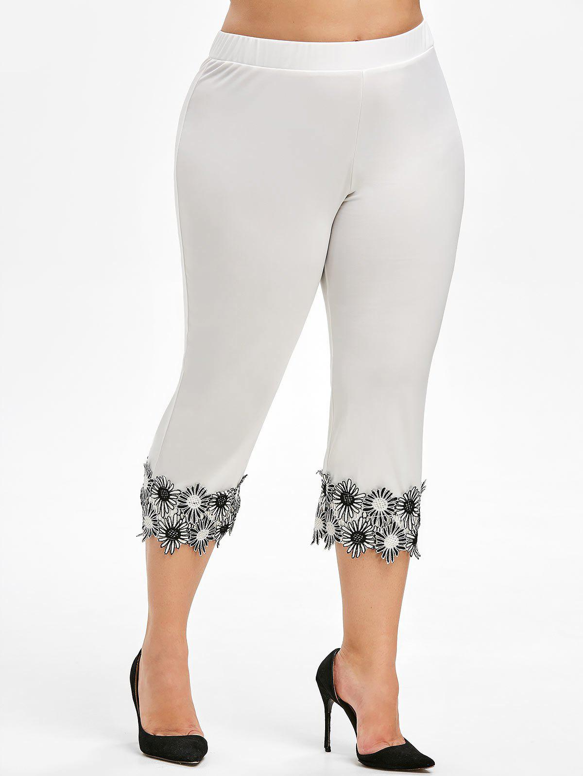 Latest Lace Applique Plus Size Capri Leggings
