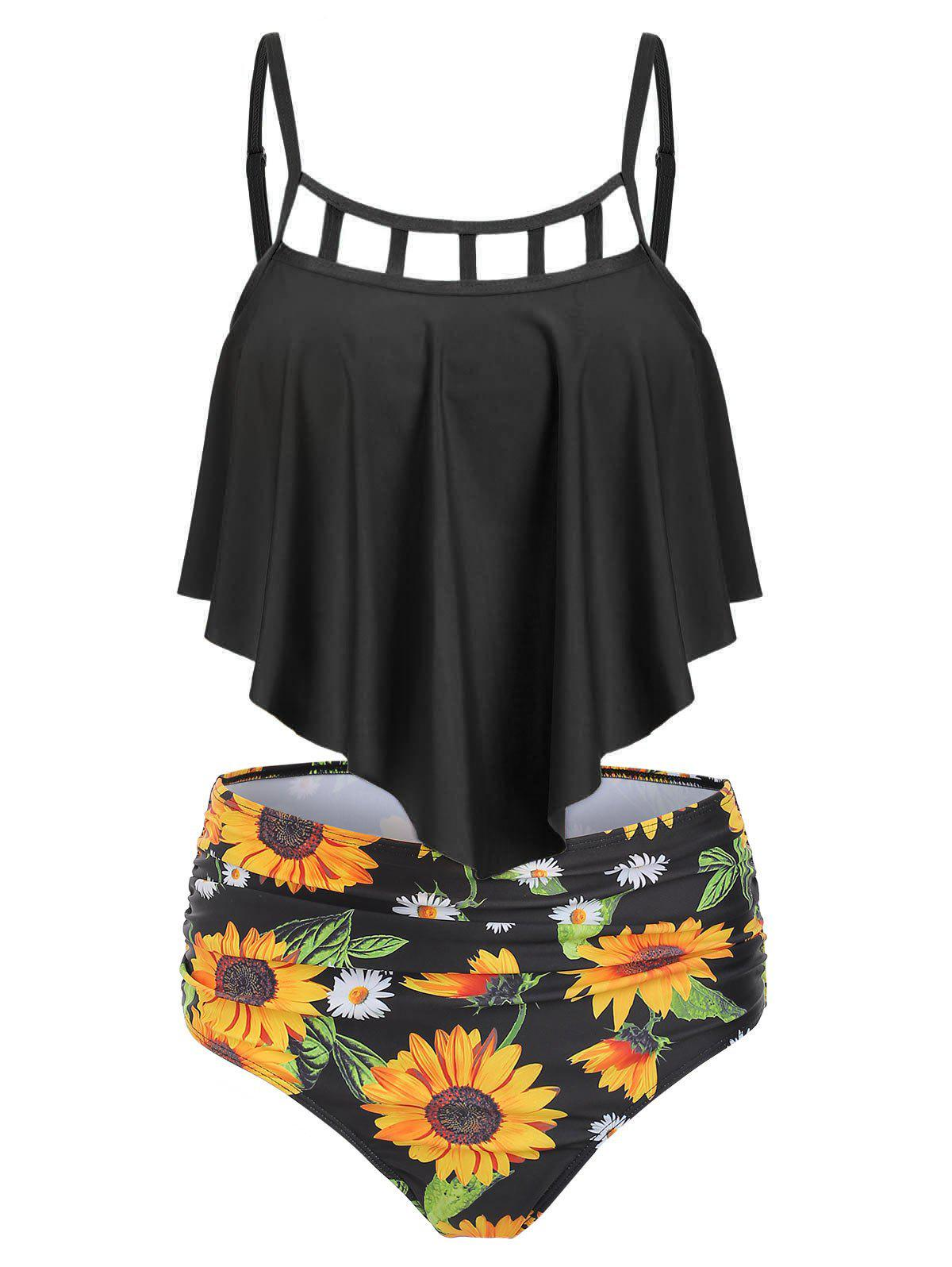 Outfit Ruched Sunflower Overlay Tankini Set