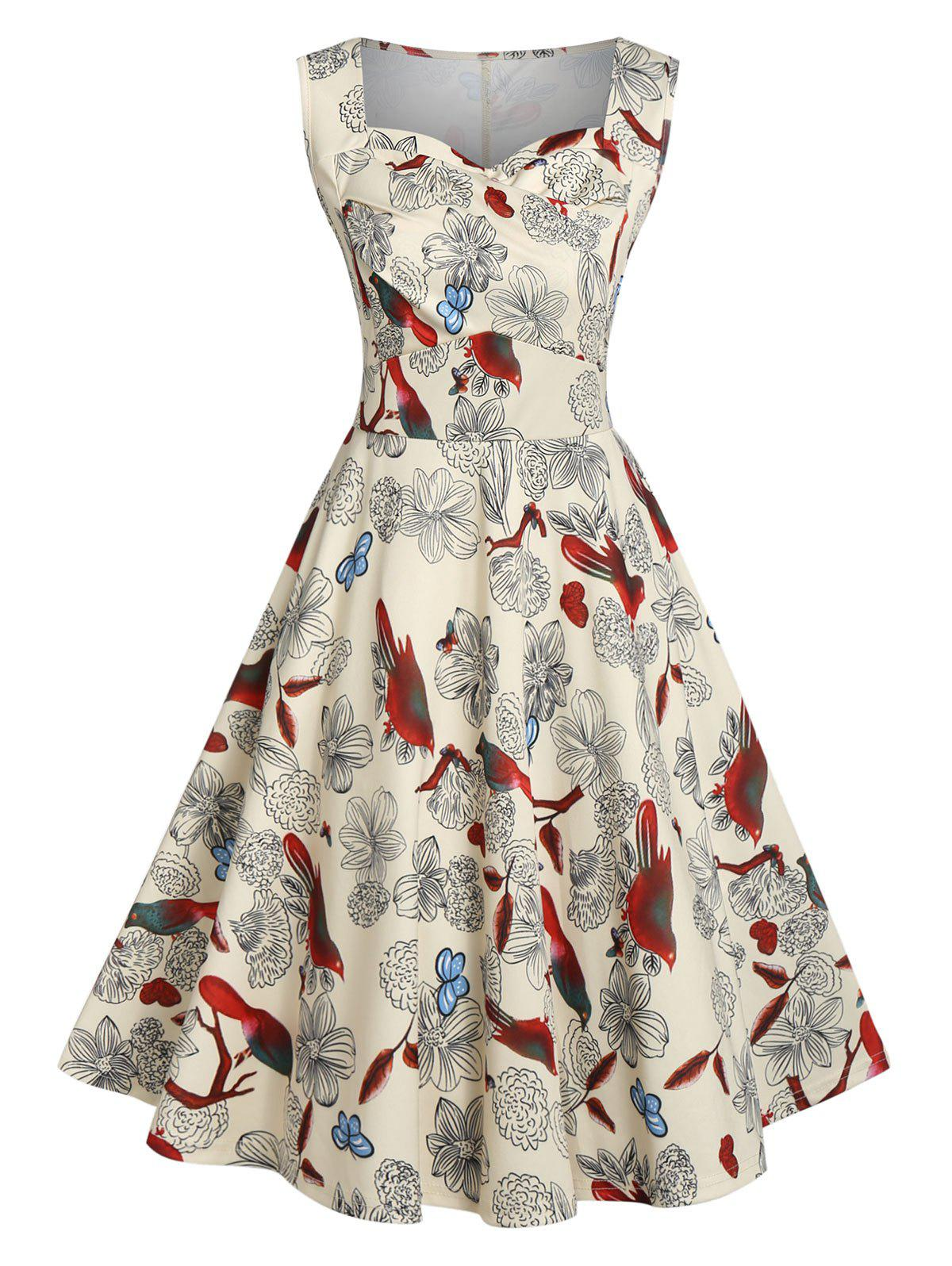 Latest A Line Sweetheart Collar Printed Vintage Dress