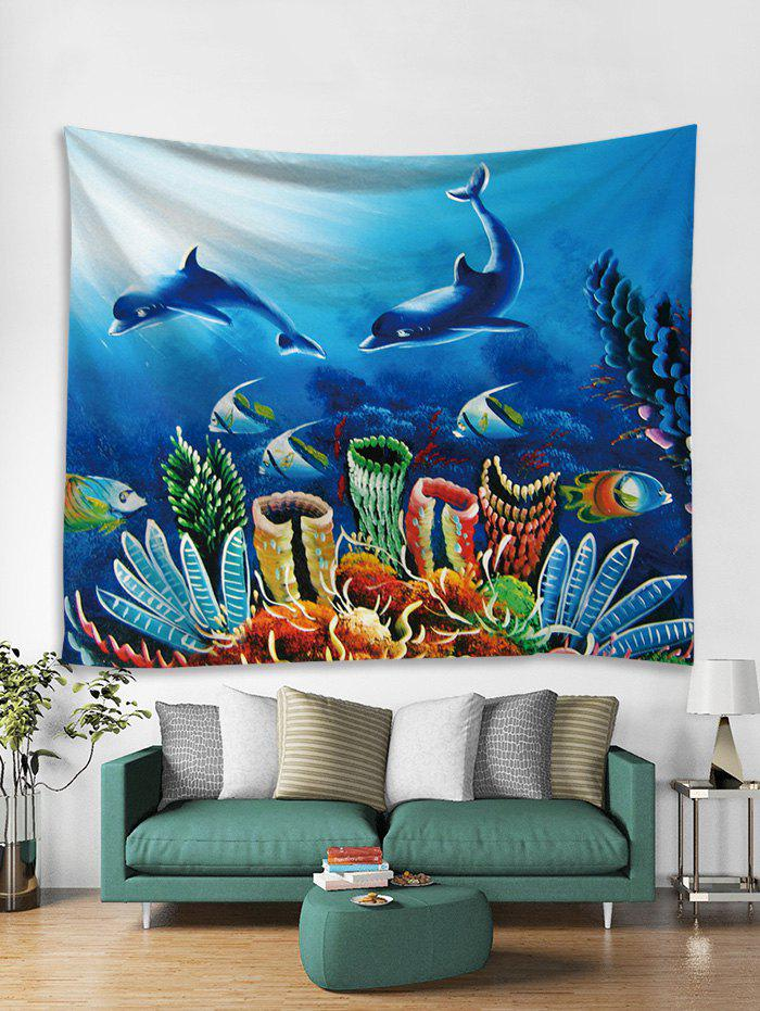 Chic Underwater Dolphin Print Tapestry Wall Hanging