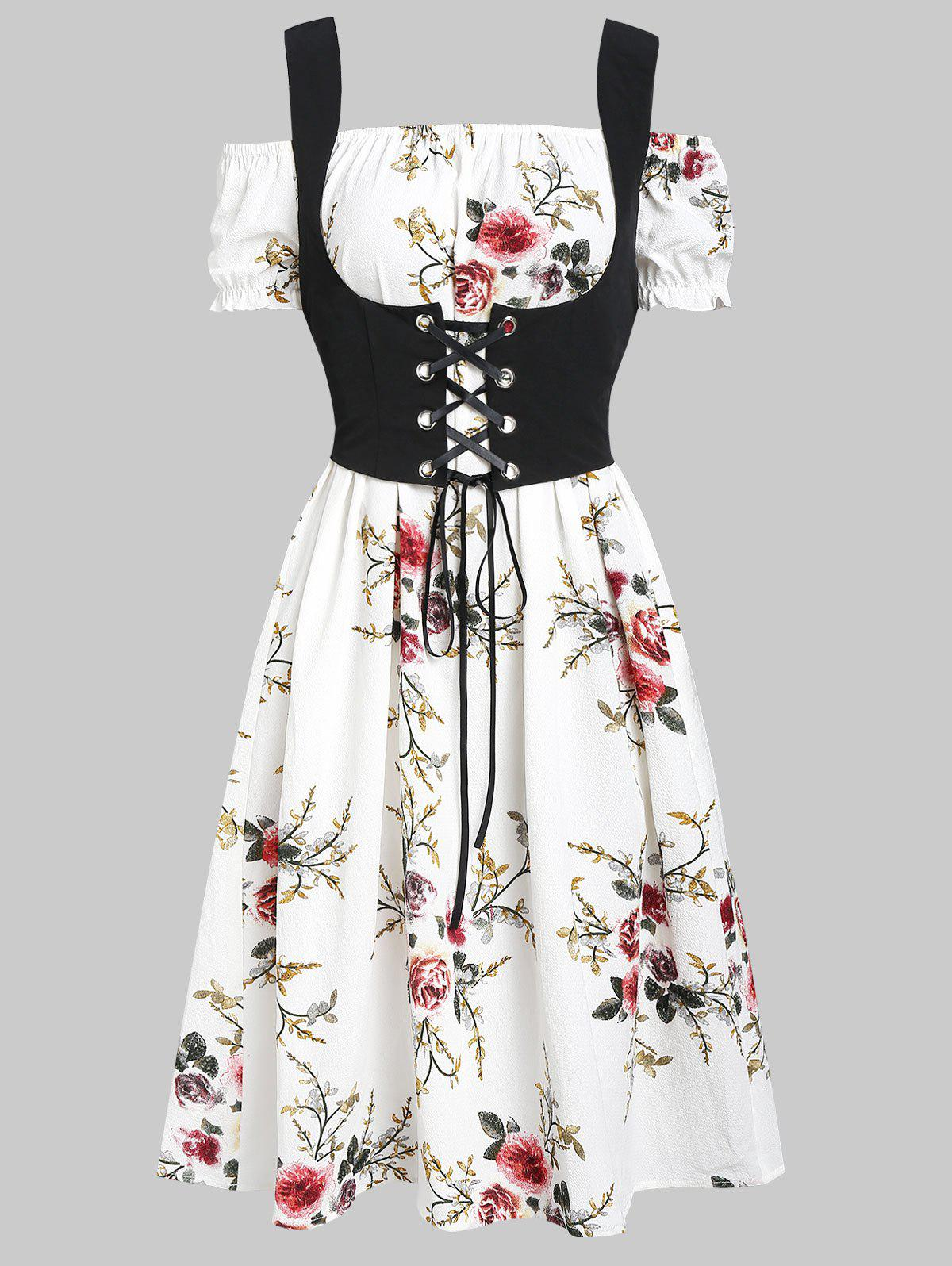 Chic Off Shoulder Flower Dress and Waistcoat Set