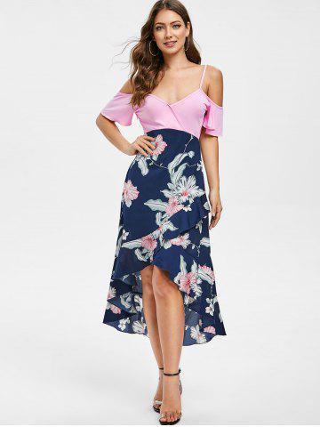 Floral Print High Low Flounced Dress