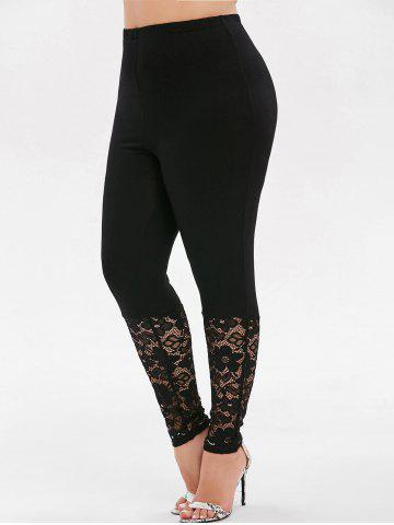 High Waisted Lace Panel Plus Size Leggings