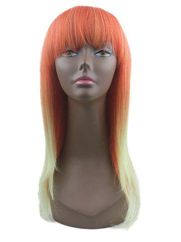 Synthetic Neat Bang Ombre Cosplay Long Wig