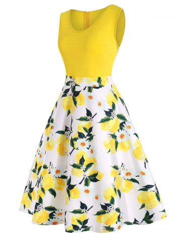 Plus Size Lemon Print High Waist Dress