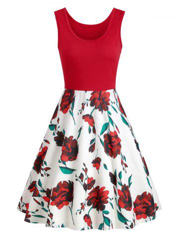 Color Block Floral Dress