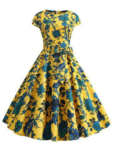 Short Sleeves Floral Print Belted Flare Dress