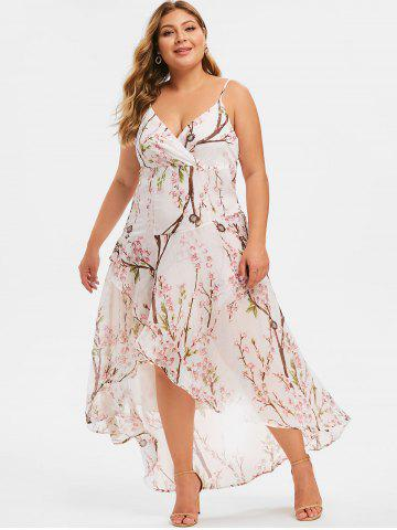 Plus Size Peach Blossom High Low Maxi Dress