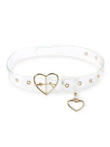 Metal Heart Buckle Transparent Belt