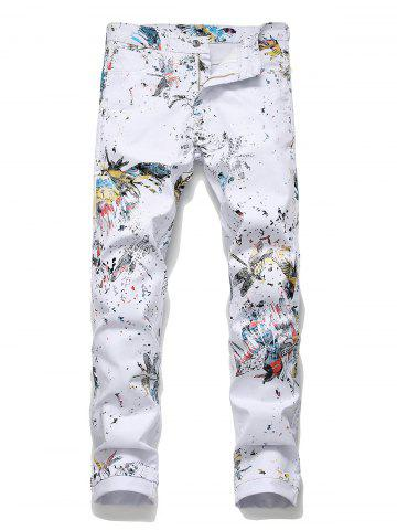 Floral Dragonfly Pattern Pencil Jeans