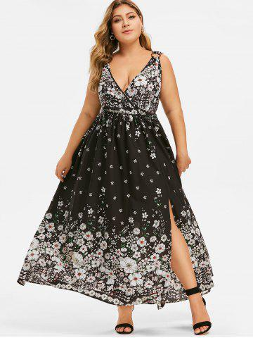 Plus Size Plunge Floral Print Split Dress