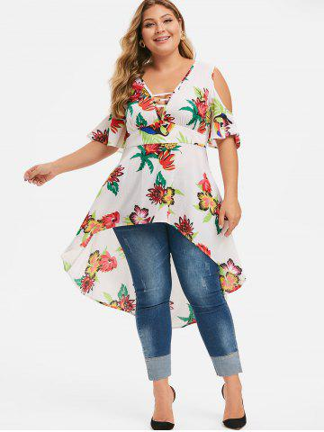 Plus Size Plunging Neck Floral High Low Blouse