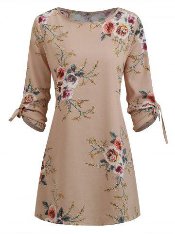 Floral Tie Cuffs Tunic Dress
