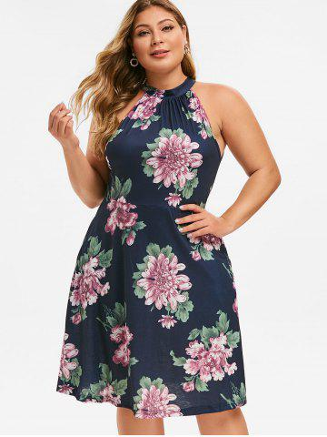 Keyhole Seam Pockets Floral Plus Size Dress