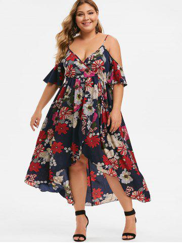 Plus Size Cold Shoulder Floral Maxi Dress