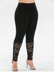 High Waisted Lace Panel Plus Size Leggings -