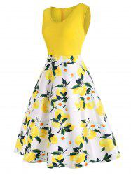 Plus Size Lemon Print High Waist Dress -