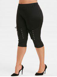 Plus Size Lace Up Capri Pants -