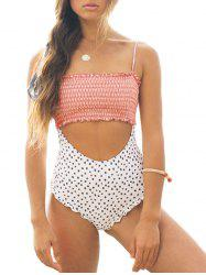 Frilled Polka Dot One-Piece Smocked Swimsuit -