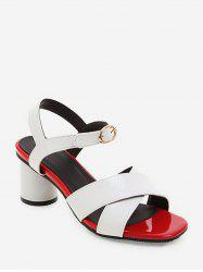 Cross Strap Square Toe Block Heel Sandals -