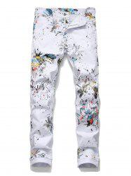 Floral Dragonfly Pattern Pencil Jeans -