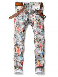 Union Jack Pattern Pencil Jeans -
