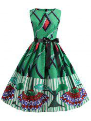 Graphic Sleeveless Belted Dress -