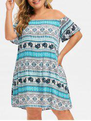 Plus Size Off Shoulder Tribal Print Straight Dress -