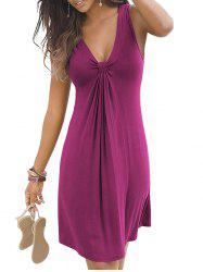 Plunge Knotted Casual A Line Dress -