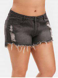 Ripped Plus Size Denim Shorts -