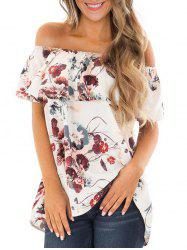 Off Shoulder Flower Print Flounce Tee -