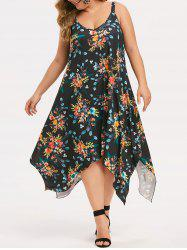 Plus Size Floral Maxi Handkerchief Dress -