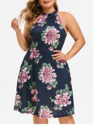 Keyhole Seam Pockets Floral Plus Size Dress -