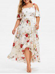 Plus Size Cold Shoulder Flounce Floral Maxi Dress -