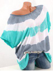 Plus Size Batwing Sleeve Contrast Color T-shirt -